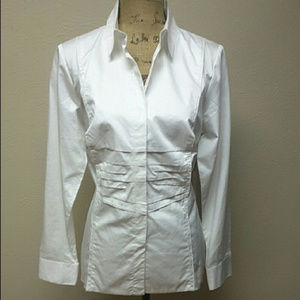 Cabi #734 White Long Sleeve Blouse w/ Pleates Sml